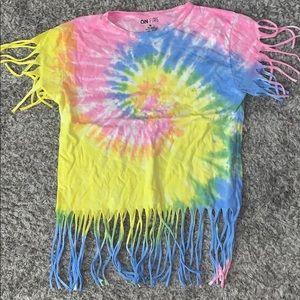 Tyedye frilled edges shirt